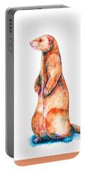 Portable Battery Charger featuring the painting Cinnamon Ferret by Zaira Dzhaubaeva