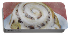 Portable Battery Charger featuring the painting Cinnamon Roll by Nancy Nale