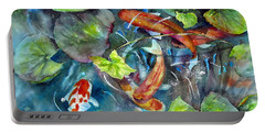 Portable Battery Charger featuring the painting Circle Of Koi by Mary McCullah
