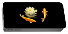 Circle Of Life - Koi Carp With Water Lily Portable Battery Charger