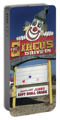 Circus Drive In Sign Portable Battery Charger by Melinda Saminski