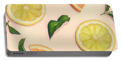 Citrus Pattern On Retro Pink Background Portable Battery Charger