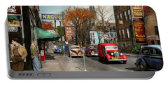 City - Amsterdam Ny - Downtown Amsterdam 1941 Portable Battery Charger by Mike Savad