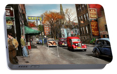 Portable Battery Charger featuring the photograph City - Amsterdam Ny - Downtown Amsterdam 1941 by Mike Savad