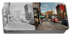 Portable Battery Charger featuring the photograph City - Amsterdam Ny - Downtown Amsterdam 1941- Side By Side by Mike Savad