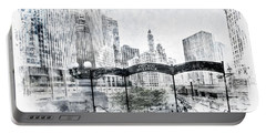 City Art Chicago Downtown View Portable Battery Charger