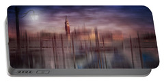 Portable Battery Charger featuring the photograph City-art Venice Gondolas At Sunset by Melanie Viola