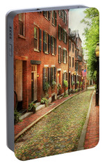 Portable Battery Charger featuring the photograph City - Boston Ma - Acorn Street by Mike Savad