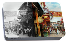 Portable Battery Charger featuring the photograph City - Coney Island Ny - Bowery Beer 1903 - Side By Side by Mike Savad