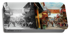 City - Coney Island Ny - Bowery Beer 1903 - Side By Side Portable Battery Charger by Mike Savad