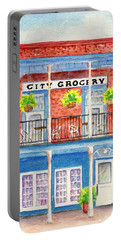 Portable Battery Charger featuring the painting City Grocery Oxford Mississippi  by Carlin Blahnik CarlinArtWatercolor