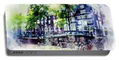 city life in watercolor style - Old Amsterdam  Portable Battery Charger