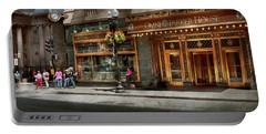 Portable Battery Charger featuring the photograph City - Ma Boston - Meet Me At The Omni Parker Clock by Mike Savad