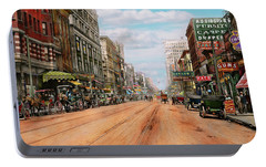Portable Battery Charger featuring the photograph City - Memphis Tn - Main Street Mall 1909 by Mike Savad