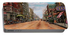 City - Memphis Tn - Main Street Mall 1909 Portable Battery Charger by Mike Savad