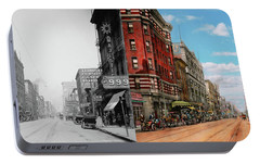 Portable Battery Charger featuring the photograph City - Memphis Tn - Main Street Mall 1909 - Side By Side by Mike Savad