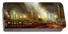 Portable Battery Charger featuring the photograph City - Naval Academy - The Chapel by Mike Savad