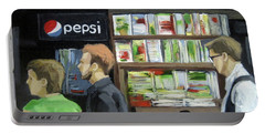 City Newsstand - People On The Street Painting Portable Battery Charger