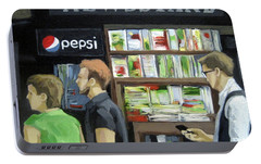 Portable Battery Charger featuring the painting City Newsstand - People On The Street Painting by Linda Apple