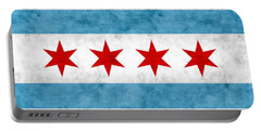 Portable Battery Charger featuring the mixed media City Of Chicago Flag by Christopher Arndt