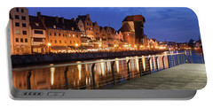 City Of Gdansk Old Town Skyline At Night Portable Battery Charger