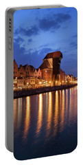 City Of Gdansk Old Town Skyline By Night Portable Battery Charger