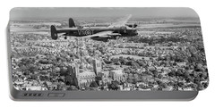 Portable Battery Charger featuring the photograph City Of Lincoln Vn-t Over The City Of Lincoln Bw Version by Gary Eason