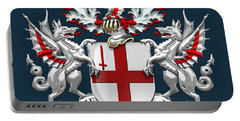 City Of London - Coat Of Arms Over Blue Leather  Portable Battery Charger