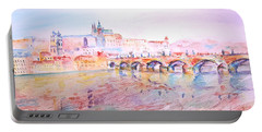 Portable Battery Charger featuring the painting City Of Prague by Elizabeth Lock