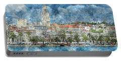 City Of Split In Croatia With Birds Flying In The Sky Portable Battery Charger
