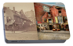 Portable Battery Charger featuring the photograph City - Pa - Fish And Provisions 1898 - Side By Side by Mike Savad