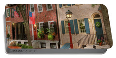 Portable Battery Charger featuring the photograph City - Pa Philadelphia - American Townhouse by Mike Savad