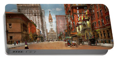 Portable Battery Charger featuring the photograph City - Pa Philadelphia - Broad Street 1905 by Mike Savad