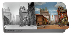 Portable Battery Charger featuring the photograph City - Pa Philadelphia - Broad Street 1905 - Side By Side by Mike Savad