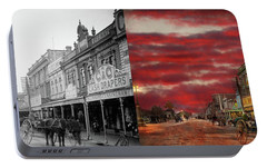 Portable Battery Charger featuring the photograph City - Palmerston North Nz - The Shopping District 1908 - Side By Side by Mike Savad