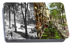 Portable Battery Charger featuring the photograph City - Saratoga Ny -  I Would Love To Be On Broadway 1915 - Side By Side by Mike Savad