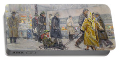 Portable Battery Charger featuring the painting City Snow Ride by Donna Tucker