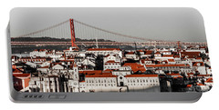 Lisbon In Black, White And Red Portable Battery Charger