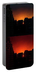 Cityscape Sunset Portable Battery Charger by Jeff Ross