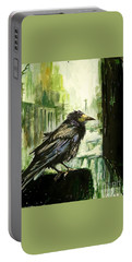 Cityscape With A Crow Portable Battery Charger