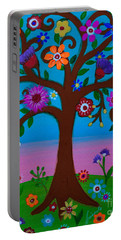 Portable Battery Charger featuring the painting Cj's Tree by Pristine Cartera Turkus