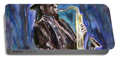 Portable Battery Charger featuring the painting Clarence Clemons by Clara Sue Beym
