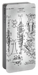 Portable Battery Charger featuring the digital art Clarinet Patent by Taylan Apukovska