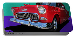 Portable Battery Charger featuring the photograph Classic 1950s Red Chevrolet Coupe by Debi Dalio