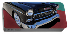 Classic Black And White 1950s Chevy Bel Air Portable Battery Charger