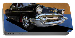 Portable Battery Charger featuring the photograph Classic Black Chevy Bel Air With Gold Trim by Debi Dalio