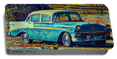 Classic Car On An Old Dirt Road Portable Battery Charger by David Mckinney