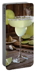 Portable Battery Charger featuring the photograph Classic Lime Margaritas On The Rocks by Teri Virbickis