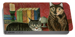 Classic Literary Cats Portable Battery Charger by Carrie Hawks