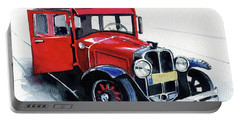 Portable Battery Charger featuring the painting Classic Red Pontiac Car 1930 by Dora Hathazi Mendes